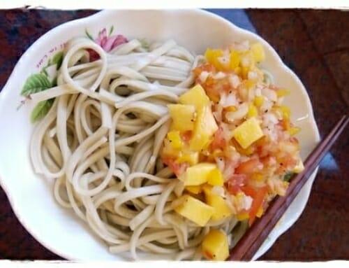 【刮盤料理】超開胃芒果莎莎醬涼麵!簡單自製芒果莎莎醬涼麵  (西施麵食譜)