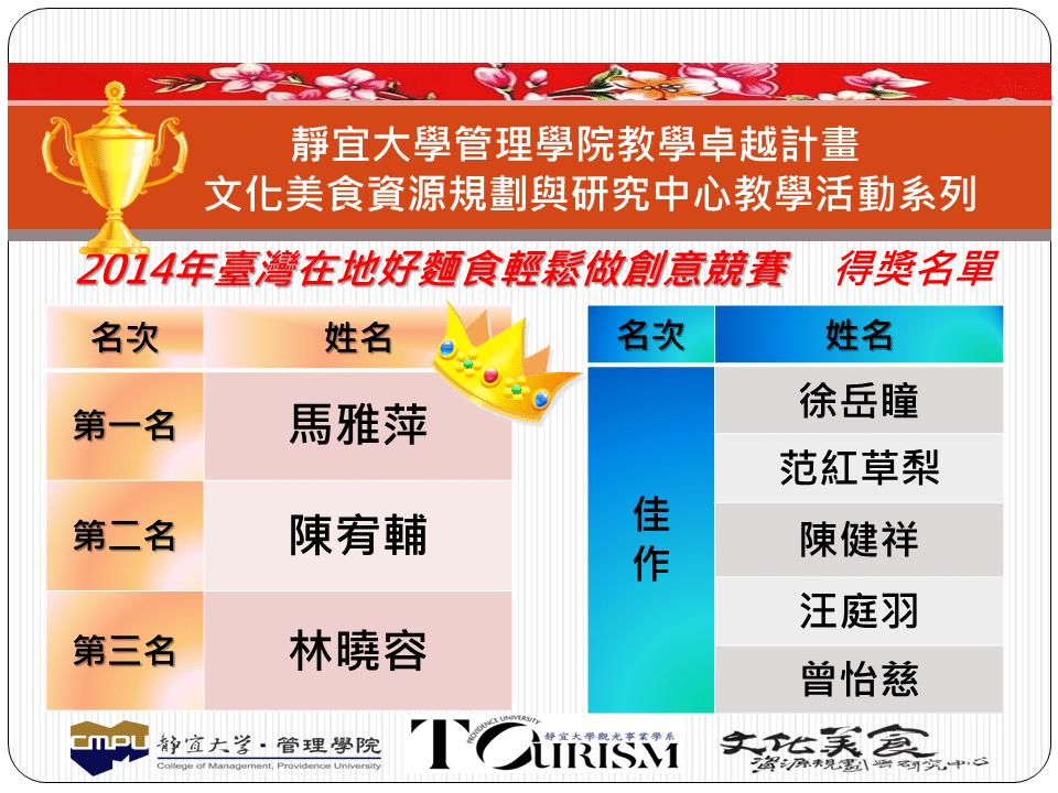 [快訊] 「2014年臺灣在地好麵食輕鬆做創意競賽」決賽得獎結果 ~~超燙~~ - 1